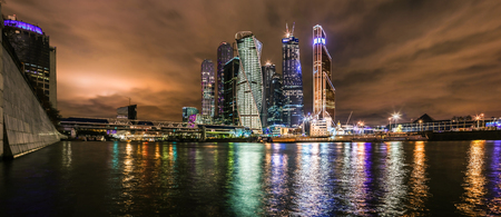 tonight: Panoramic view of the Moscow City business center tonight Stock Photo