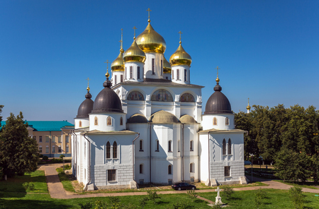 Shining cupola of orthodox monastery in summer day