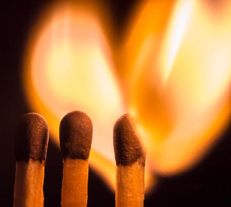 matchstick: Flaming matchstick heart