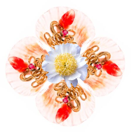 ruby stone: An abstract kaleidoscopic view of a symmetrical pattern from pomegranate grains, golden necklace, ruby ??stone, seashell and a flower
