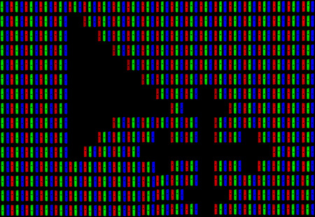 A mouse cursor symbol on a computer screen under a high magnification demonstrating the RGB encoding scheme of white color