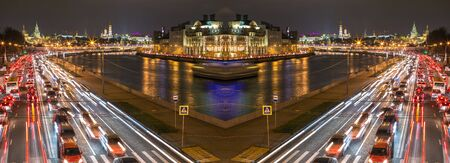 mirror image: Mirror image of night traffic along Moscow river Stock Photo