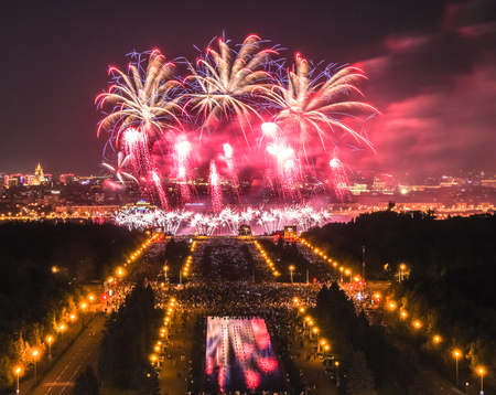thousands: A nice picture of the Moscow firework festival in the Lenin Hills area with thousands of smart phone flashes and water reflections