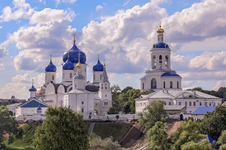 bogolyubovo: Panoramic view of Bogolyubovo Russian orthodox church near Vladimir under cloudy blue sky Stock Photo