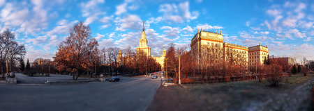 Tilt and shift view of sunset campus of Moscow university in summer under blue cloudy sky