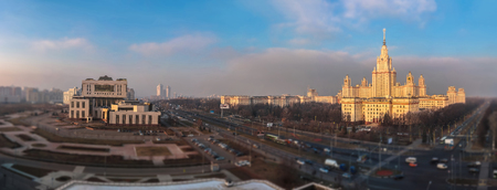 Tilt and shift view of sunset campus of Moscow university in winter