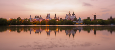 Tilt and shift view of sunset Kremlin in Izmailovo district of Moscow in red yellow gamma