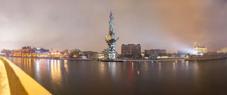 Wide angle soften edge view of Peter the Great monument in Moscow