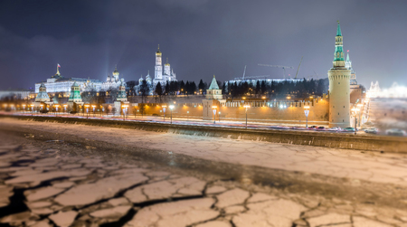 Soften edge view of frozen Moscow river near Kremlin and Read Square in Christmas