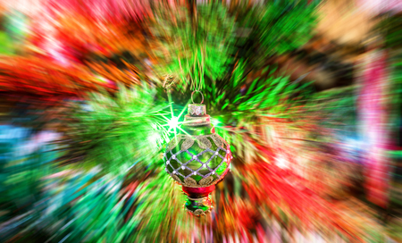 A blurred background view from illuminated new year glassy toy