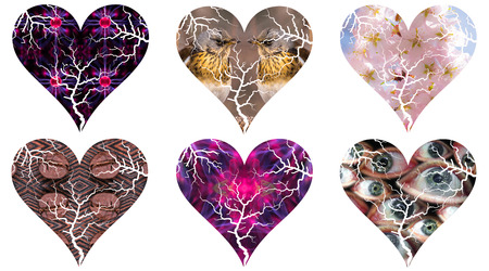 A set of Valentins day hearts as pictorial silhouettes filled with various backgrounds