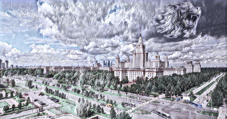 Digital wide angle painting of famous Russian university with clouds in summer in Moscow Stok Fotoğraf