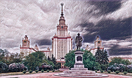 Digital wide angle painting of a famous Russian university in Moscow Stok Fotoğraf