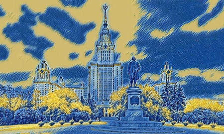 Digital wide angle painting of a famous Russian university in Moscow 写真素材