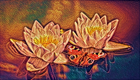 Computer image of sunny floating white water lily flowers with red butterfly reflecting in dark dirty swamp in summer