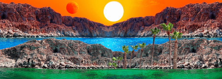 Fantasy landscape with sun, red moon, rocks and blue lagoon. All the originals are taken in Cyprus in 2018.
