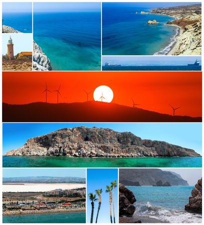 Collage set of summer views of sunny Cyprus Reklamní fotografie