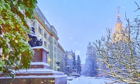 New Year snow vibrant view of chemistry department of famous Russian university