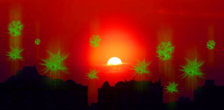 Conceptual image of coronavirus transfer against dramatic sunset over large city with dark silhouettes of buildings