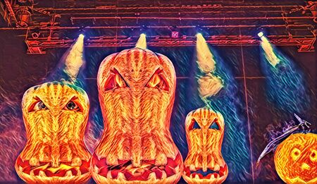 Digital art picture of halloween pumpkin flaming faces with  blue ray projector lights during performance on behind