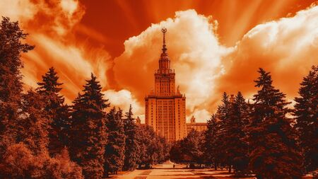Gradient color view of summer campus of Moscow university under cloudy sky