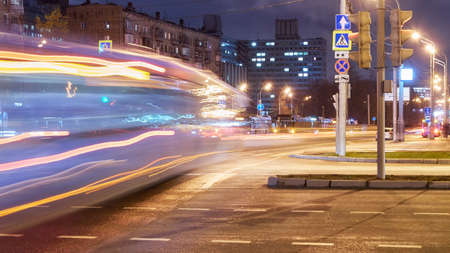 Light tracers on road in night Moscow