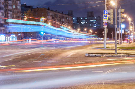 Light tracers on road in night Moscow Archivio Fotografico