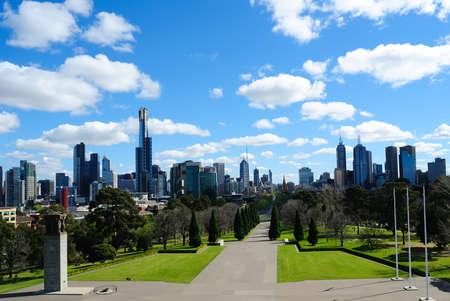 Ver de Melbourne a partir da varanda do Shrine of Remembrance Imagens