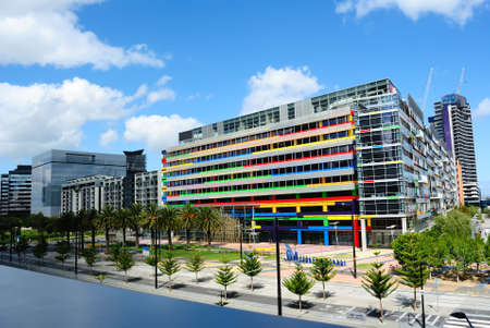 Colorful office building in the city, Melbourne, Australia Imagens