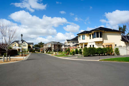 Modern custom built homes in a residential neighborhood Stock Photo