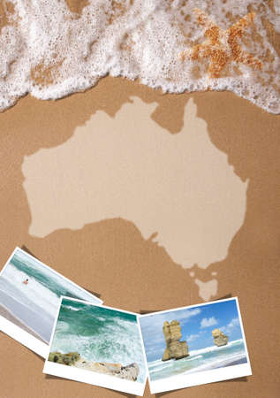 season photos: Australian textured map on the beach with pictures of tourist attractions and cities