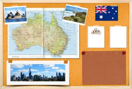 Cork placa de boletim com mapa da Austrália, notas de papel e fotos.