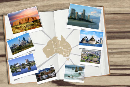 Map of Australia with photos of tourist attractions and cities Stock Photo