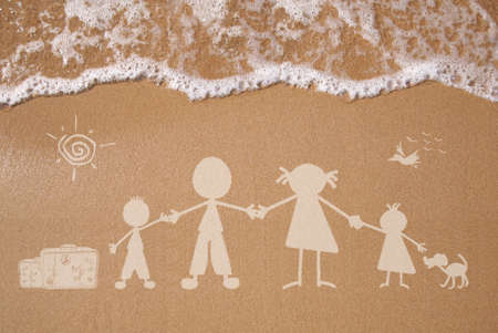 Stick figure family travels at the beach as concept photo