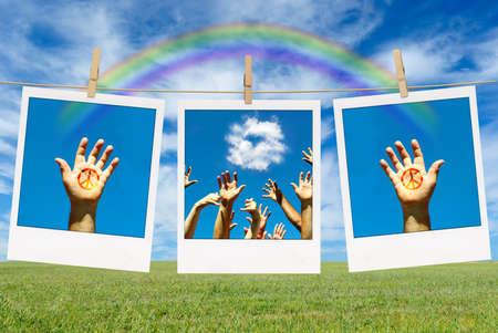 Pictures of hands with peace sign and rainbow over blue sky photo