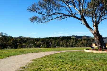australia farm: Rural Australian landscape with farmhouse  Stock Photo