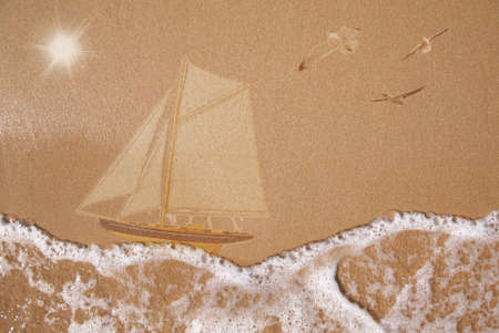 Sailing ship, wet sand texture, summer vacation concept