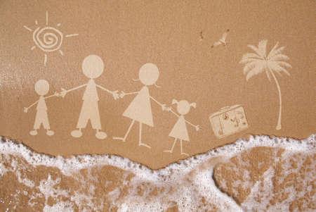 playa caricatura: Familia Monigote viaja a la playa como un concepto Foto de archivo