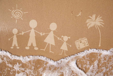 family vacations: Stick figure family travels at the beach as a concept