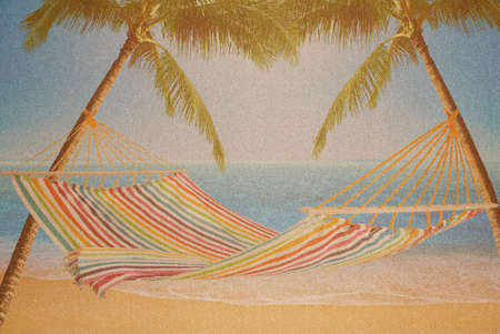Hammock strung between two palms on Tropical Island