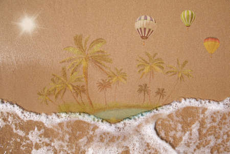 Wet sand texture, tropical resort, summer vacation concept