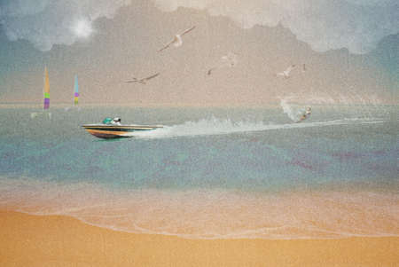 Water skiing, summer vacation concept on wet sand texture photo