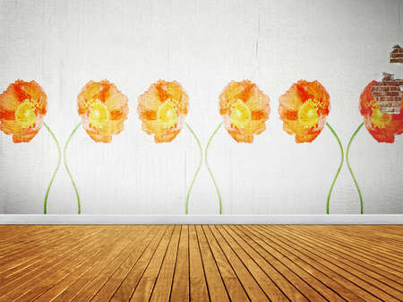 Vintage room with floral wallpaper, interior background Stock Photo