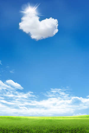 Heart shapes cloud on blue sky and green grass field photo