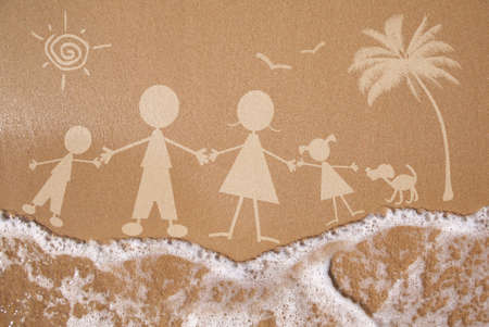family vacations: Summer family vacation concept on wet sand texture Stock Photo