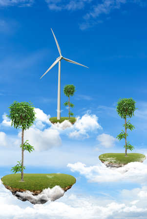 Floating Islands with plants and wind power station in the clouds photo