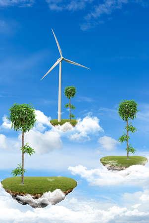 Ilhas Flutuantes com plantas e esta Imagens