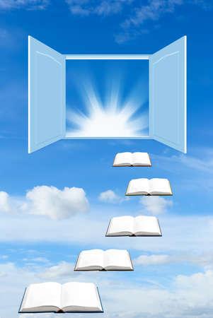 libros abiertos: Escaleras de libros que llevan a la puerta abierta