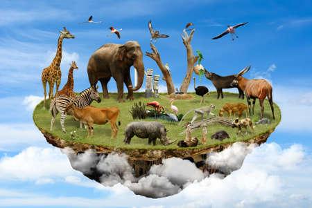 Ilha flutuando nas nuvens com os animais como símbolo do conceito ambiental