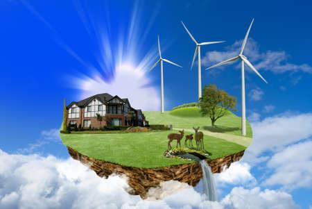 Consumo de energia moderna, ilha flutuante com casa e estação de energia eólica nas nuvens